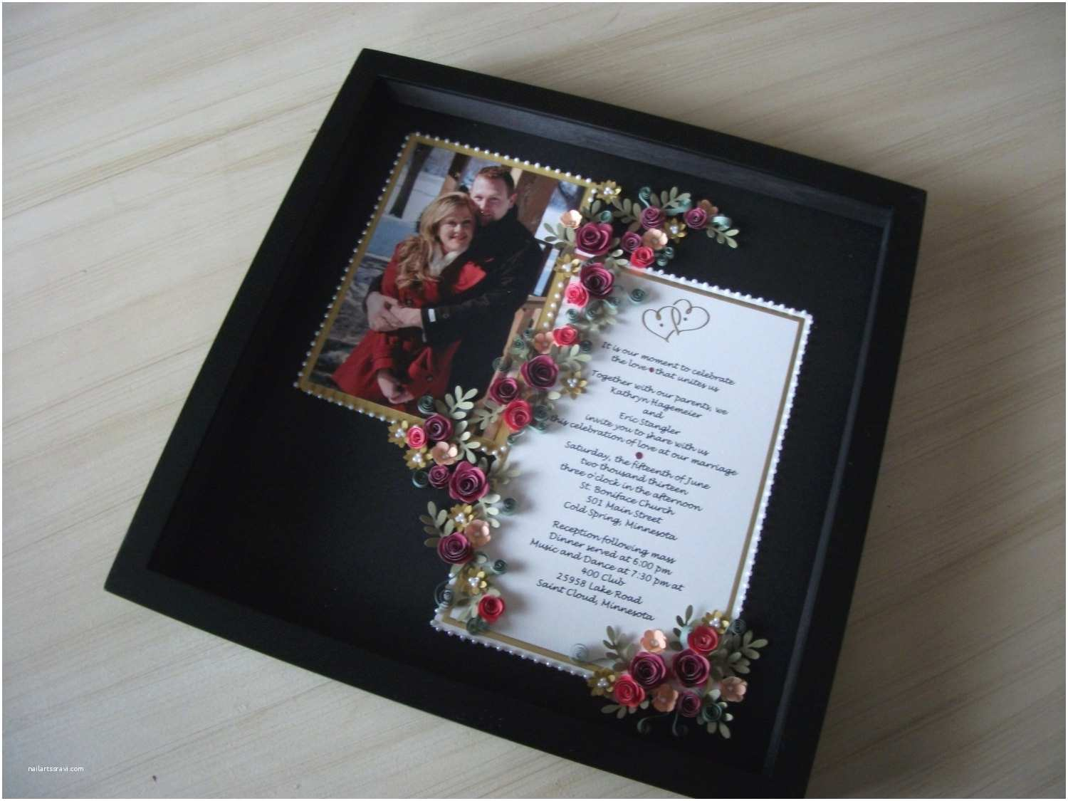 Wedding Invitation Frame Paper Quilled Wedding Invitation & Picture Framed Under Glass