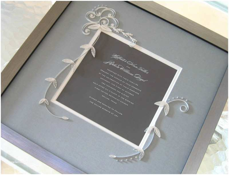 Wedding Invitation Frame Quilled and Framed Wedding Invitation by Ann Martin