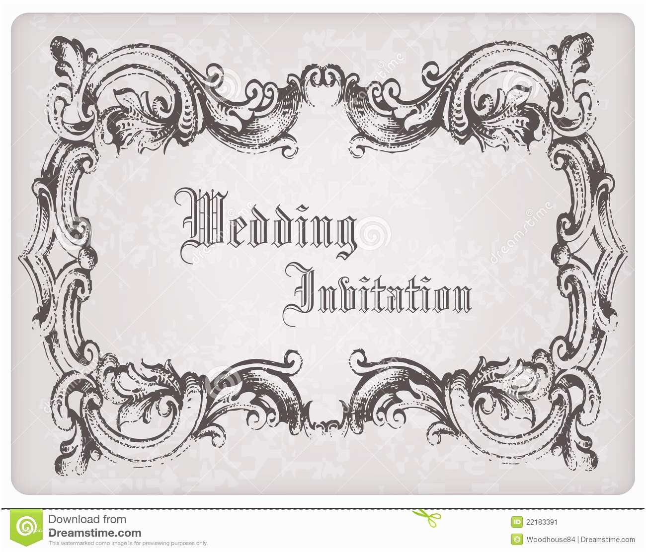 Wedding Invitation Frame Retro Wedding Invitation Postcard with Frame Stock Image