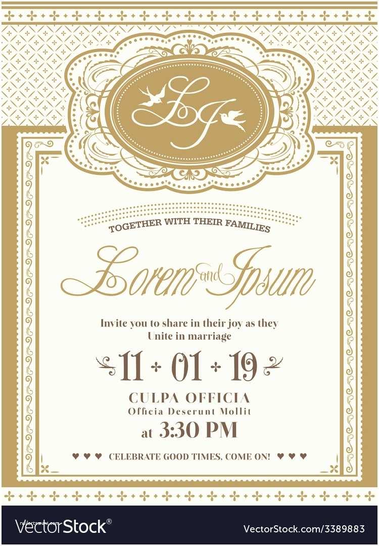 Wedding Invitation Frame Vintage Frame Wedding Invitation Card Background Vector Image