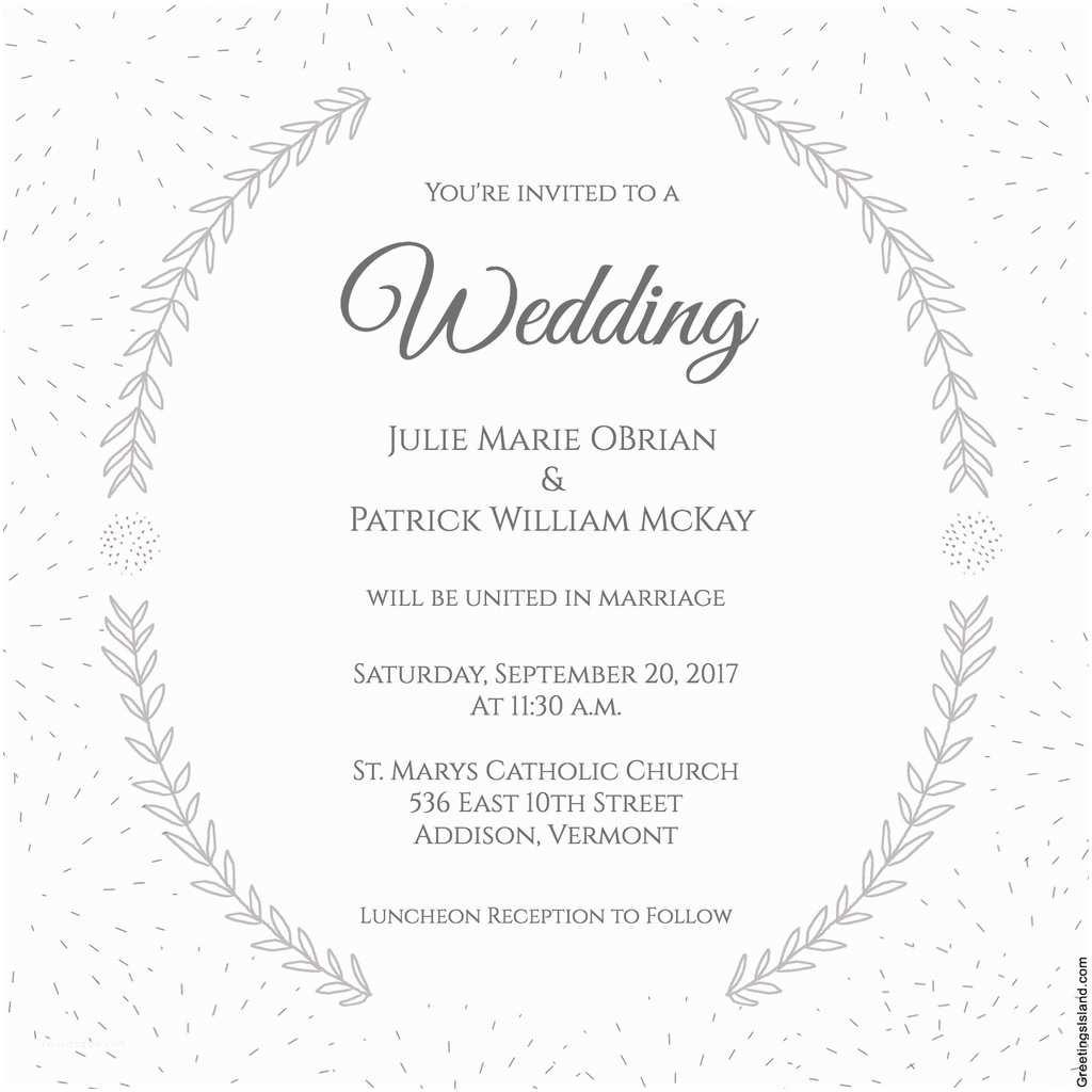 Wedding Invitation Free Download Stylized Laurels Wedding Invitation