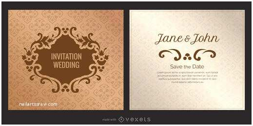 Wedding Invitation Generator Golden Floral Wedding Invitation Template Vector