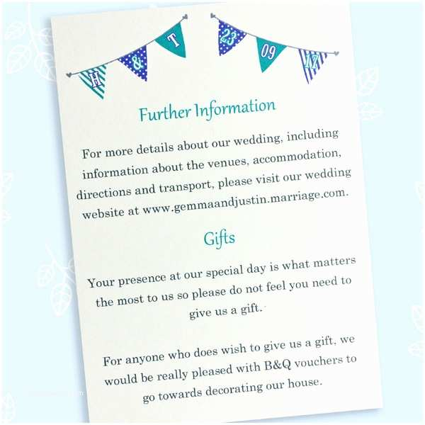 Wedding Invitation Information Card Bunting Wedding Information Card the Leaf Press