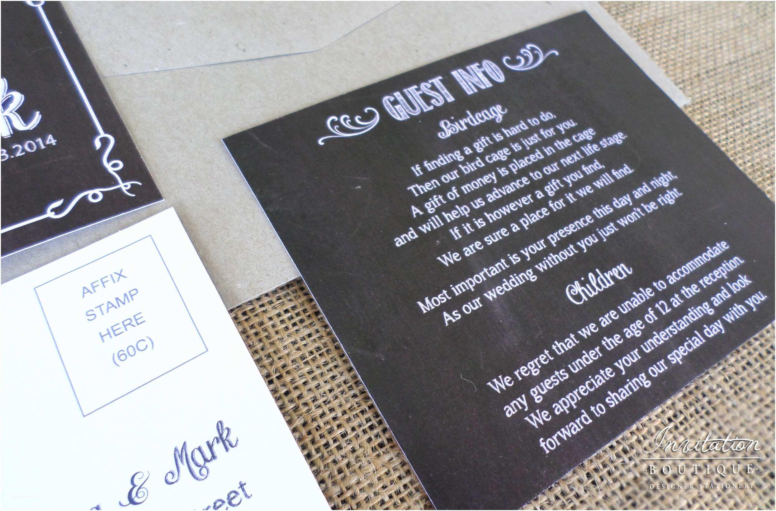 Wedding Invitation Information Card Chalkboard Wedding Invitations