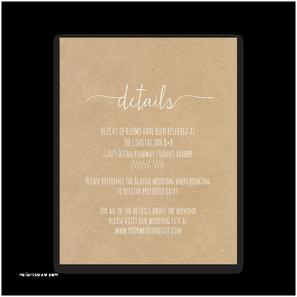 Wedding Invitation Information Card Fern Wedding Guest Additional Information Insert Card