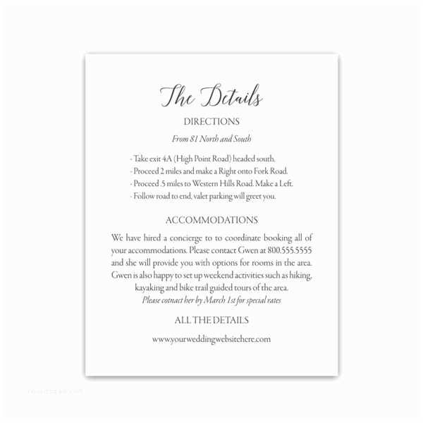 Wedding Invitation Information Card Modern Script Wedding Guest Information Insert Cards