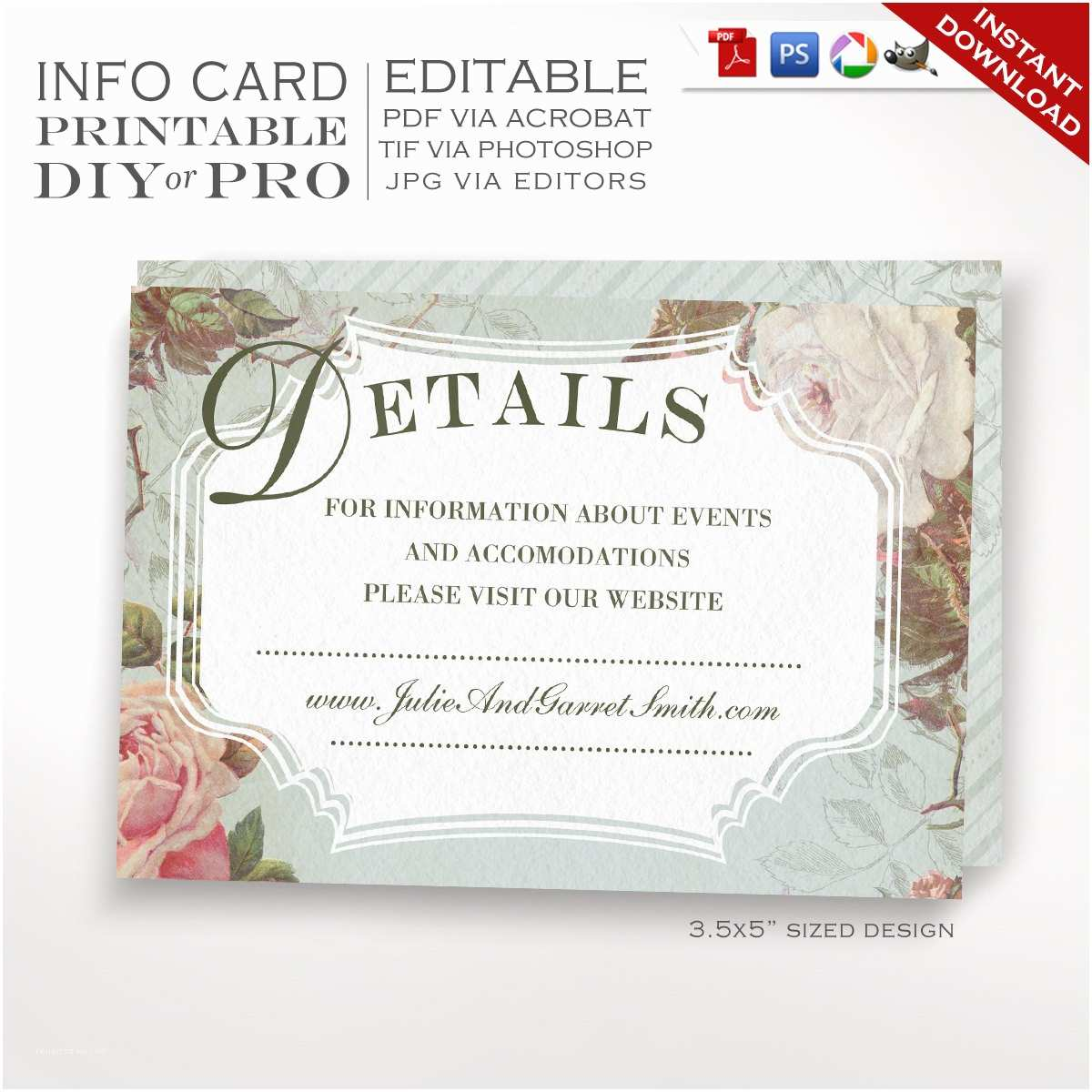 printable diy french country wedding website card template vintage rose wedding information card