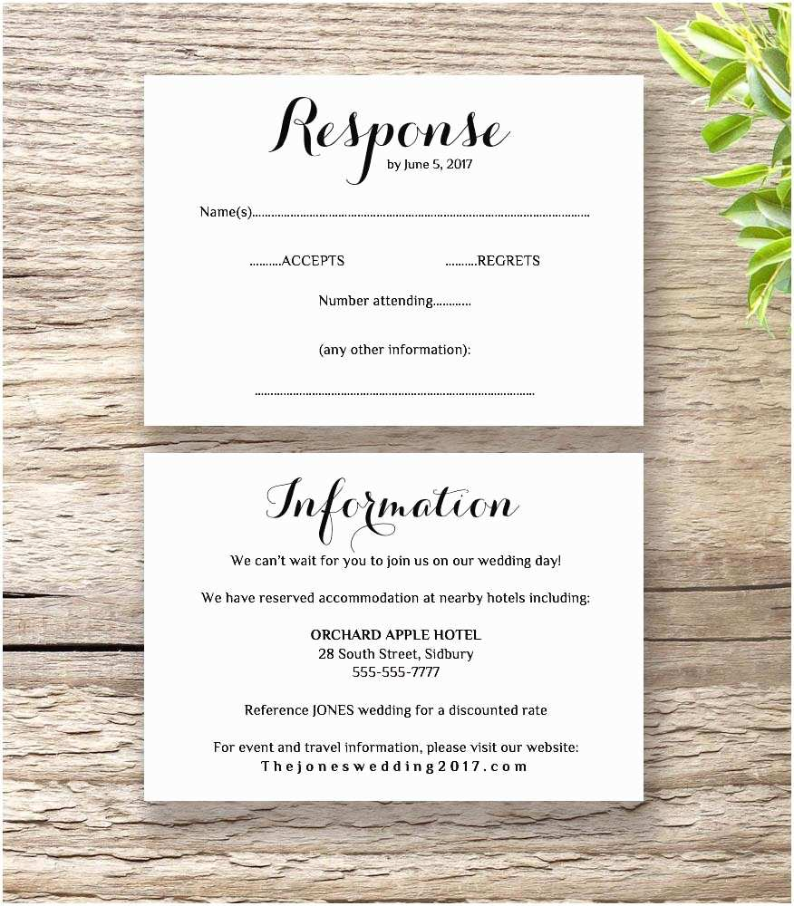 Wedding Invitation Information Card Printable Wedding Invitation Rsvp Information Templates