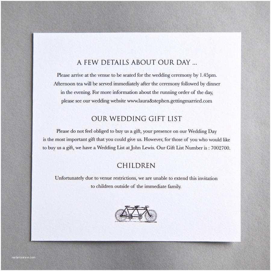 Wedding Invitation Information Card Tandem Bicycle Wedding Invitation by Twenty Seven