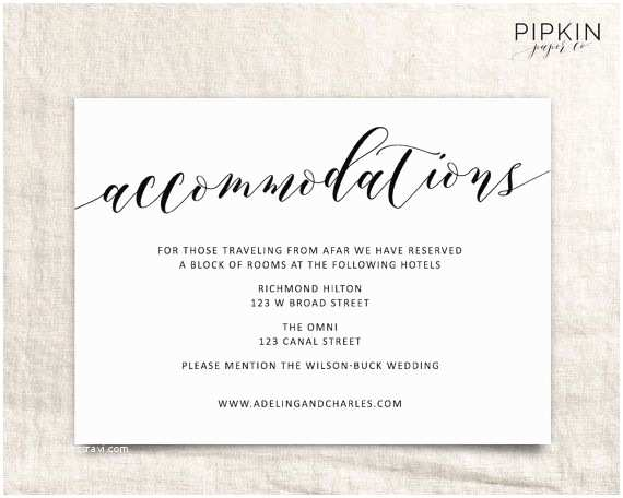Wedding Invitation Information Card Wedding Ac Modations Template
