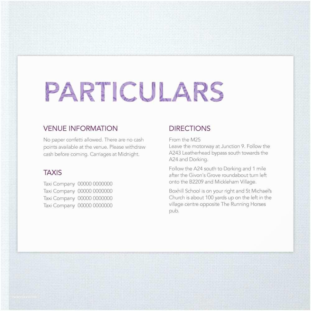 Wedding Invitation Information Card Wedding Invitation Information Card Examples