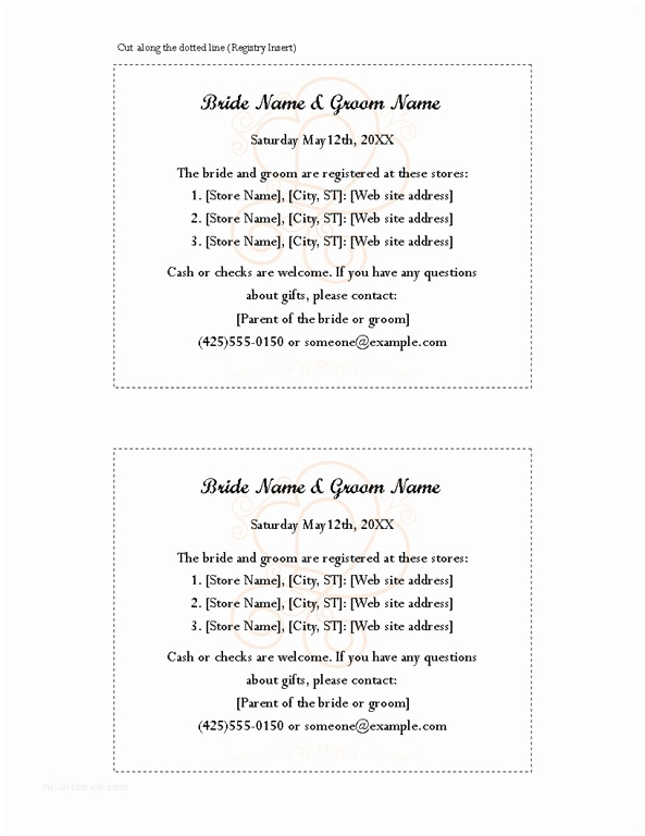 Wedding Invitation Insert Templates 8 Best Of Free Printable Wedding Registry Inserts