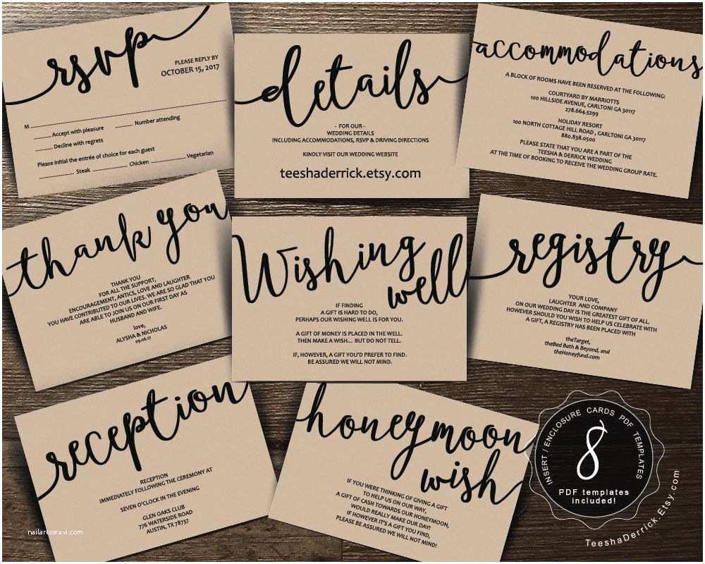 Wedding Invitation Insert Templates Wedding Insert Cards Pdf Template