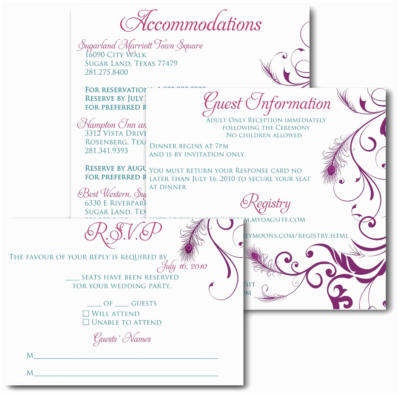 Wedding Invitation Insert Templates Wedding Invitation Insert Templates