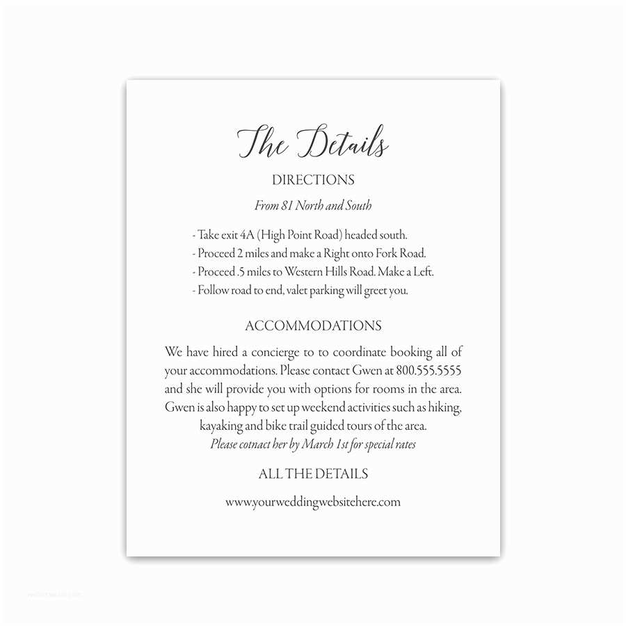 Wedding Invitation Inserts Modern Script Wedding Guest Information Insert Cards