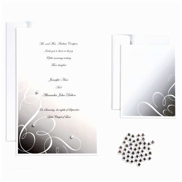 Wedding Invitation Kits Black Rhinestone Swirl Printable Wedding Invitations Kit