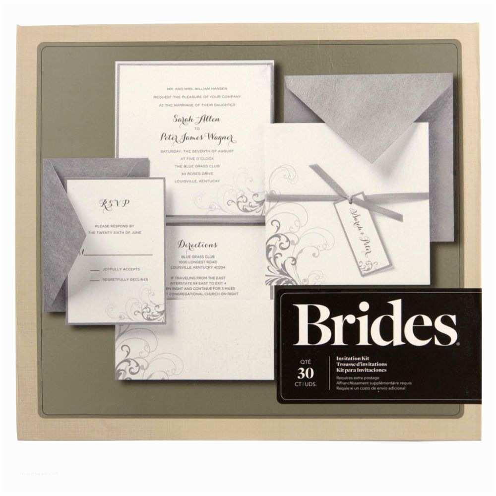 Wedding Invitation Kits Brides Silver and White Pocket Invitation Kit