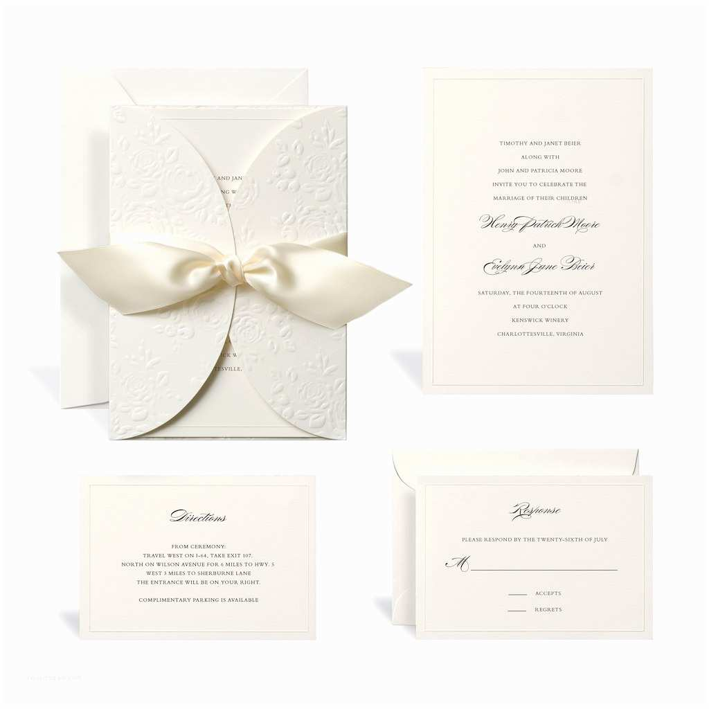 Wedding Invitation Kits Buy the Embossed Ivory Wrap Wedding Invitation Kit by