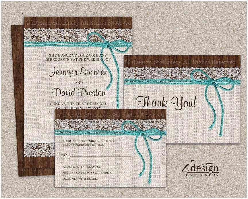 Wedding Invitation Kits Diy Printable Rustic Turquoise Wedding Invitation Sets