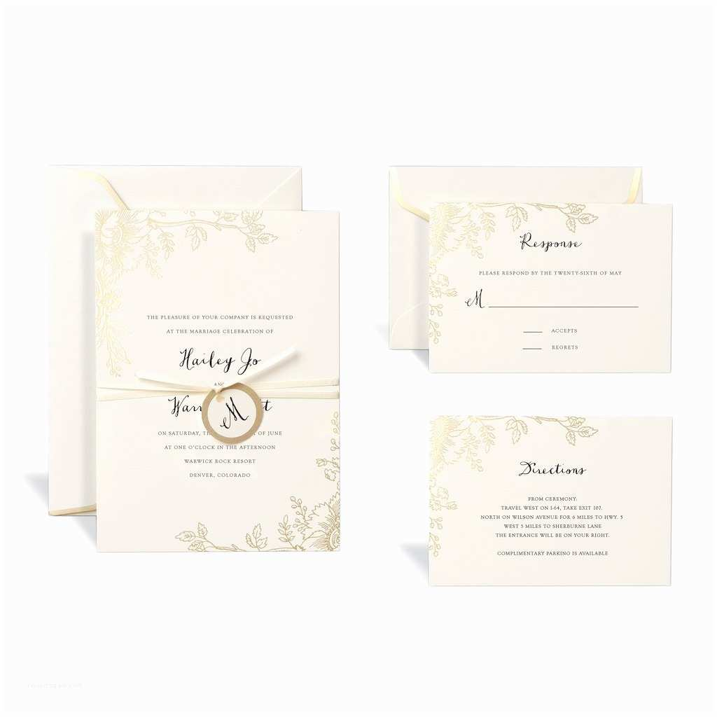 Wedding Invitation Kits Shop for the Floral Gold Wedding Invitation Kit by