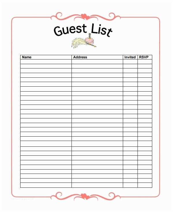Wedding Invitation List 16 Wedding Guest List Templates – Pdf Word Excel
