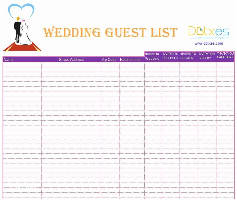 Wedding Invitation List A Preofesional Excel Blank Wedding Guest List