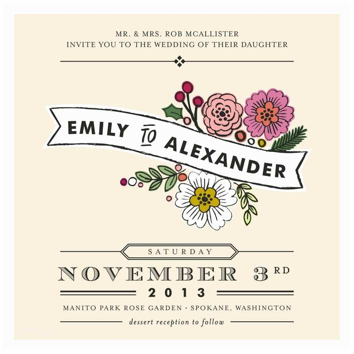 Wedding Invitation Minibook Wildflower Label Print It Yourself Wedding Invitations by