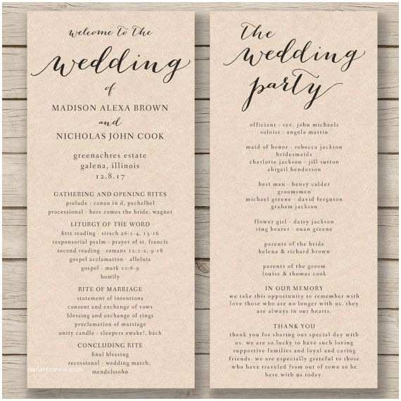 Wedding Invitation Name order Wedding Program Template Printable by Hopestreetprintables