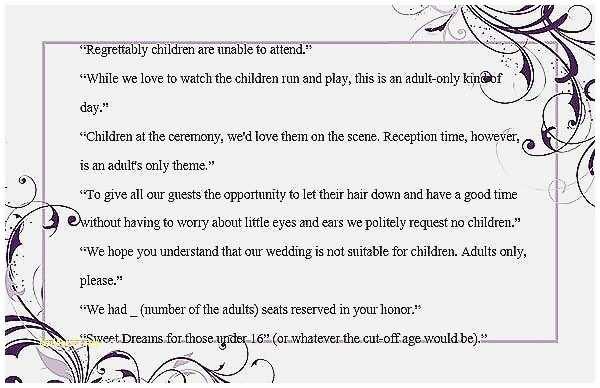Wedding Invitation No Kids  Shower Invitation Awesome How To Decline A