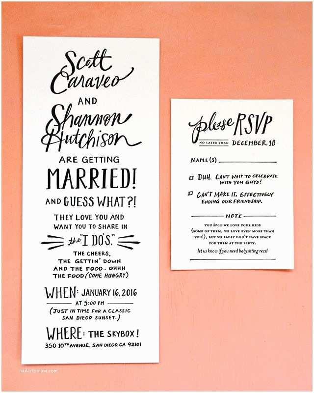 Wedding Invitation No Kids Hand Lettered San Diego Wedding