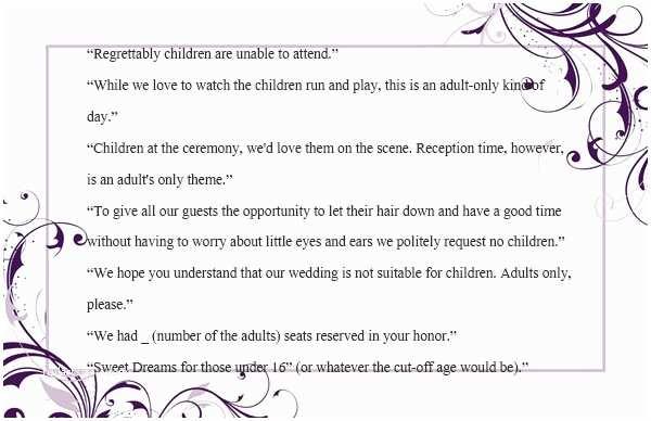 Wedding Invitation No Kids Wedding Invitation Wording No Children How To