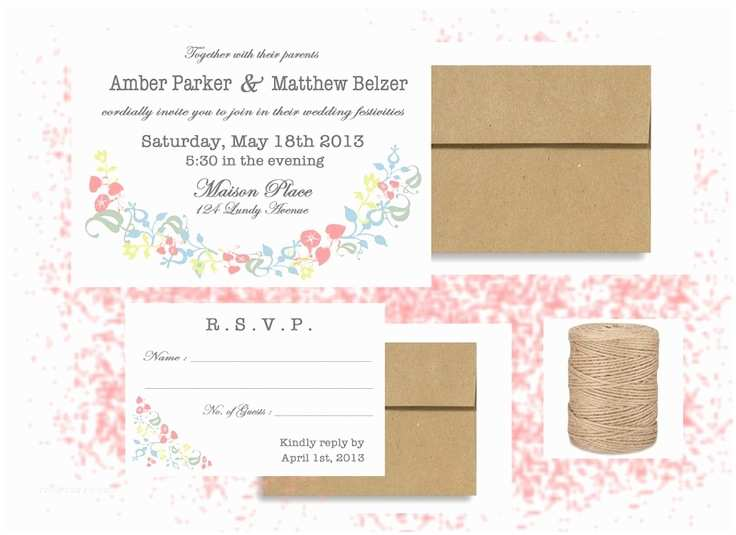 Wedding Invitation Package Deals Custom Spring Flower Banner Rustic Wedding Invitation