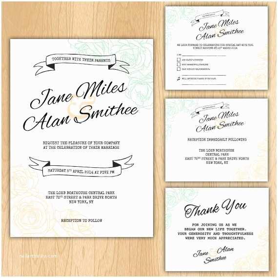 Wedding Invitation Package Deals Floral Wedding Invitation Package Printable Digital Files
