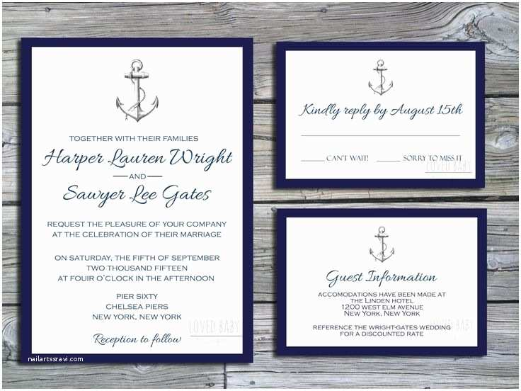 Wedding Invitation Package Deals Nautical Wedding Invitation Package Diy Printable Navy