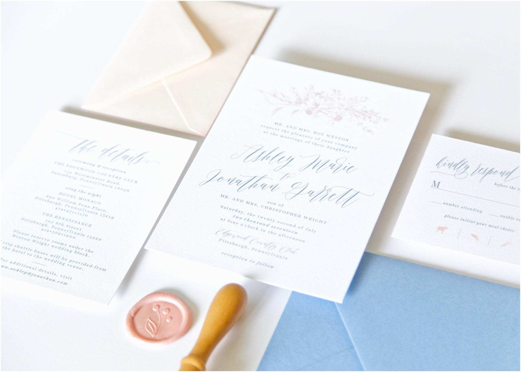 Wedding Invitation Packages Dusty Blue Wedding Invitation Package 59e7b58f4