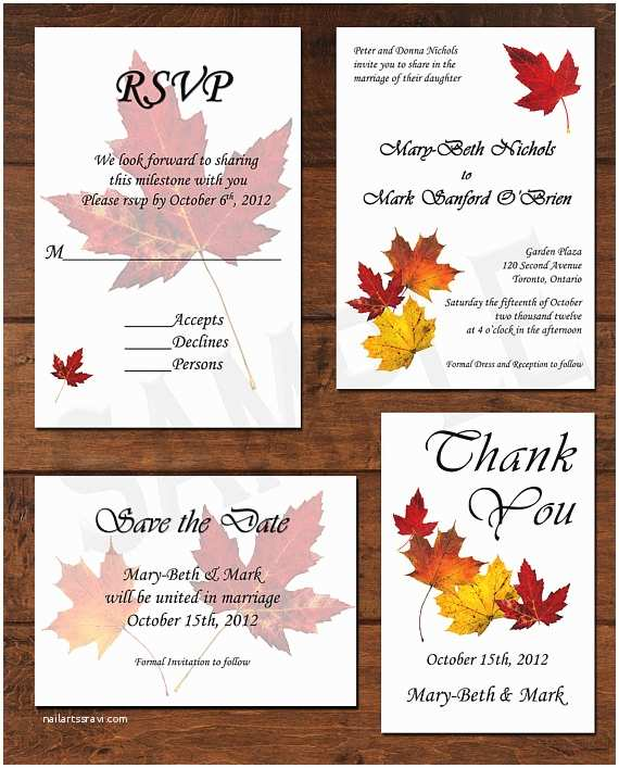 Wedding Invitation Packages Fall Autumn Leaves Wedding Invitation Package by