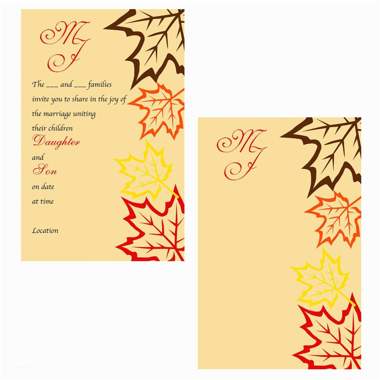 Wedding Invitation Packages Fall Wedding Invitations Packages Yaseen for