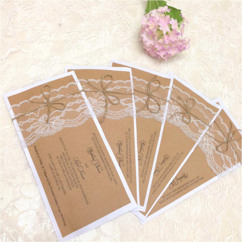 Wedding Invitation Paper 2018 Rustic Wedding Invitation Set Country Wedding Kraft