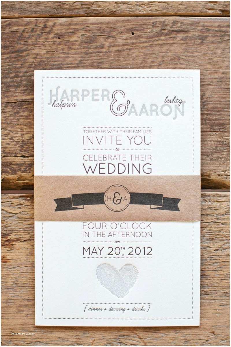 Wedding Invitation Paper Aaron Harper S Fingerprint Heart Wedding Invitations