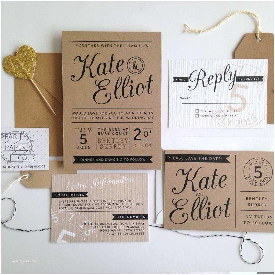 Wedding Invitation Paper Kraft Stamp Wedding Invitation by Pear Paper Co