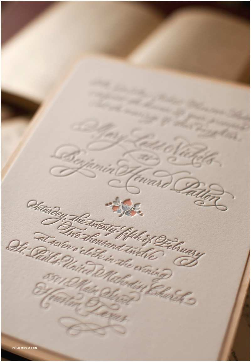 Wedding Invitation Paper Mary Ben S Elegant and Rustic Letterpress Wedding