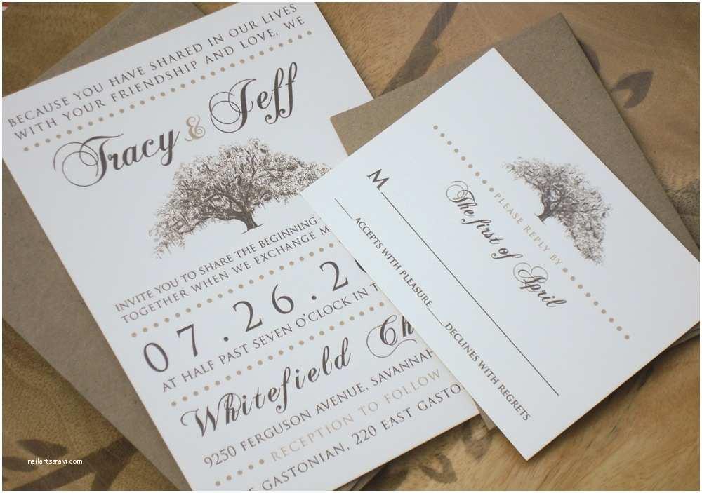 Wedding Invitation Paper Rustic Magnolia Tree Wedding Invitations with Kraft Paper