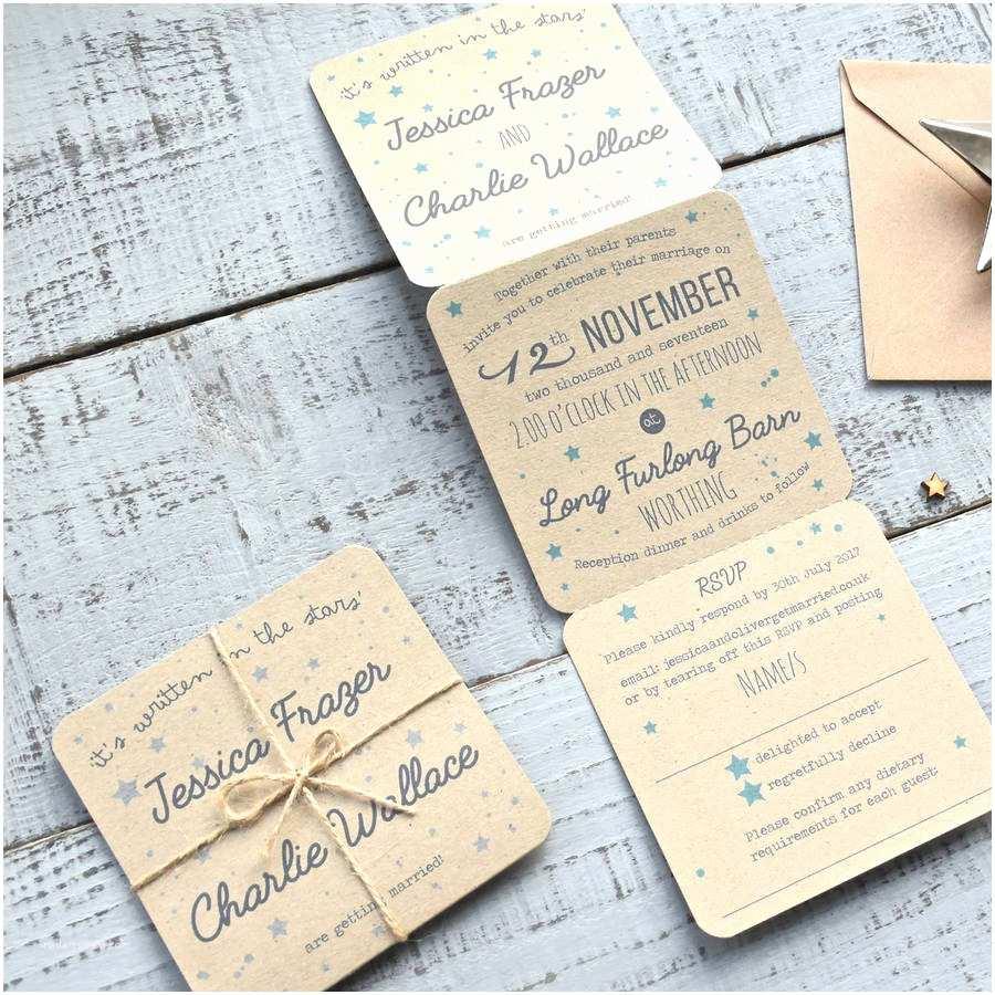 Wedding Invitation Paper Star Tri Folded Recycled Wedding Invitation by Paper and