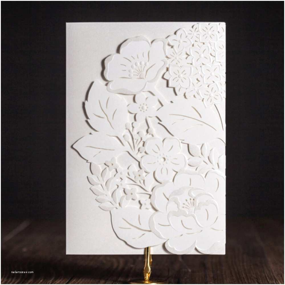 Wedding Invitation Paper Stock Aliexpress Buy White Laser Cut Wedding Invitations