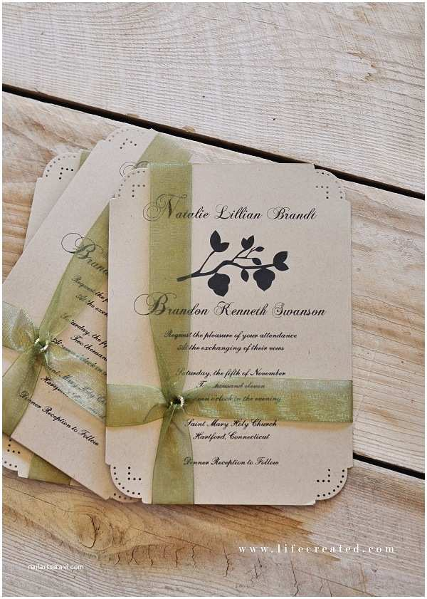 Wedding Invitation Paper Stock Noemi Bj39s Hand Lettered Kraft Paper Wedding Invitations