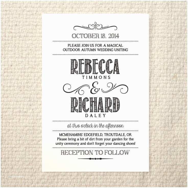 Wedding Invitation Pdf Diy Wedding Invitation Handlettered Rustic Love