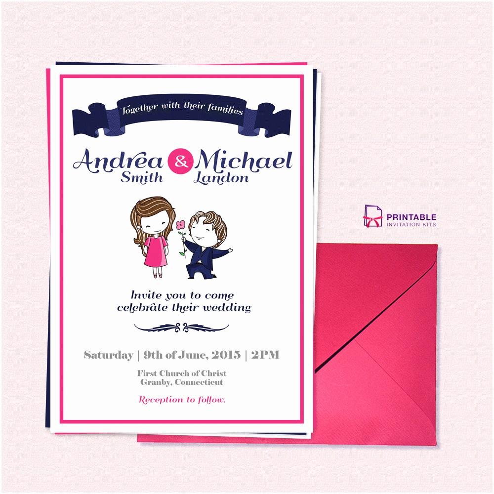 Wedding Invitation Pdf Free Pdf Download Cute Couple Illustration – Wedding