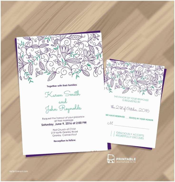 Wedding Invitation Pdf Free Pdf Download Nature Border Modern Wedding