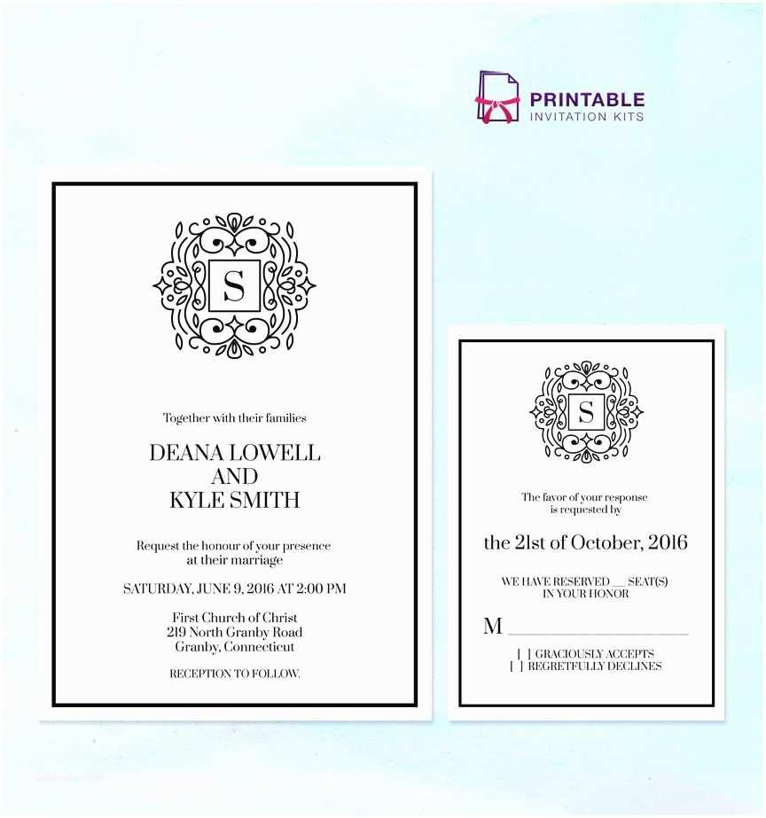 Wedding Invitation Pdf Free Pdf Stately Monogram Wedding Invitation Templates