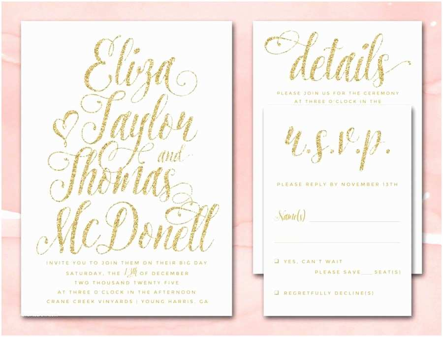 Wedding Invitation Pdf Gold Glitter Wedding Invitations Printable Diy Wedding
